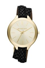 Michael Kors Slim Embossed-leather Brass Runway Watch - Lyst