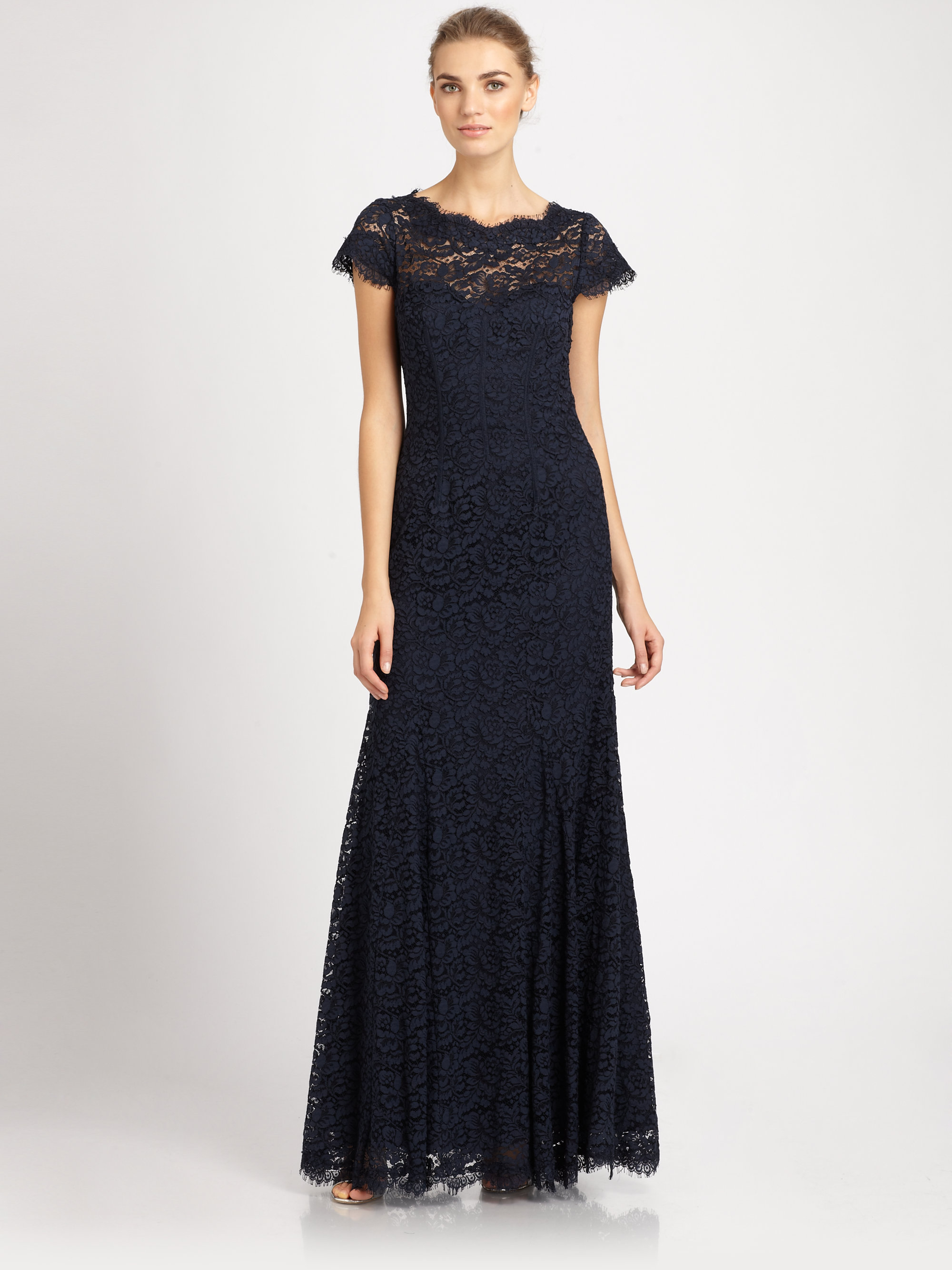Lyst - Ml monique lhuillier Openback Lace Gown in Blue