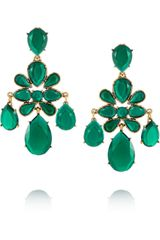 Oscar de la Renta Gold Plated Cabochon Clip Earrings - Lyst