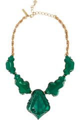 Oscar de la Renta Gold Plated Cabochon Necklace - Lyst