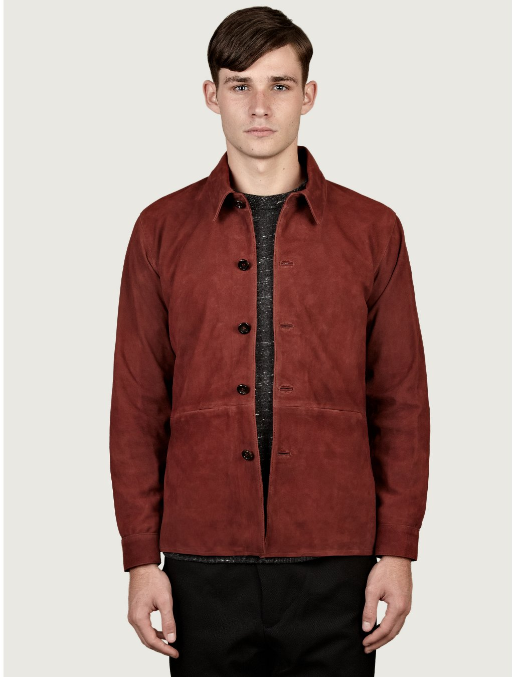 Our Legacy Suede Shirt Jacket In Red For Men Navy Lyst