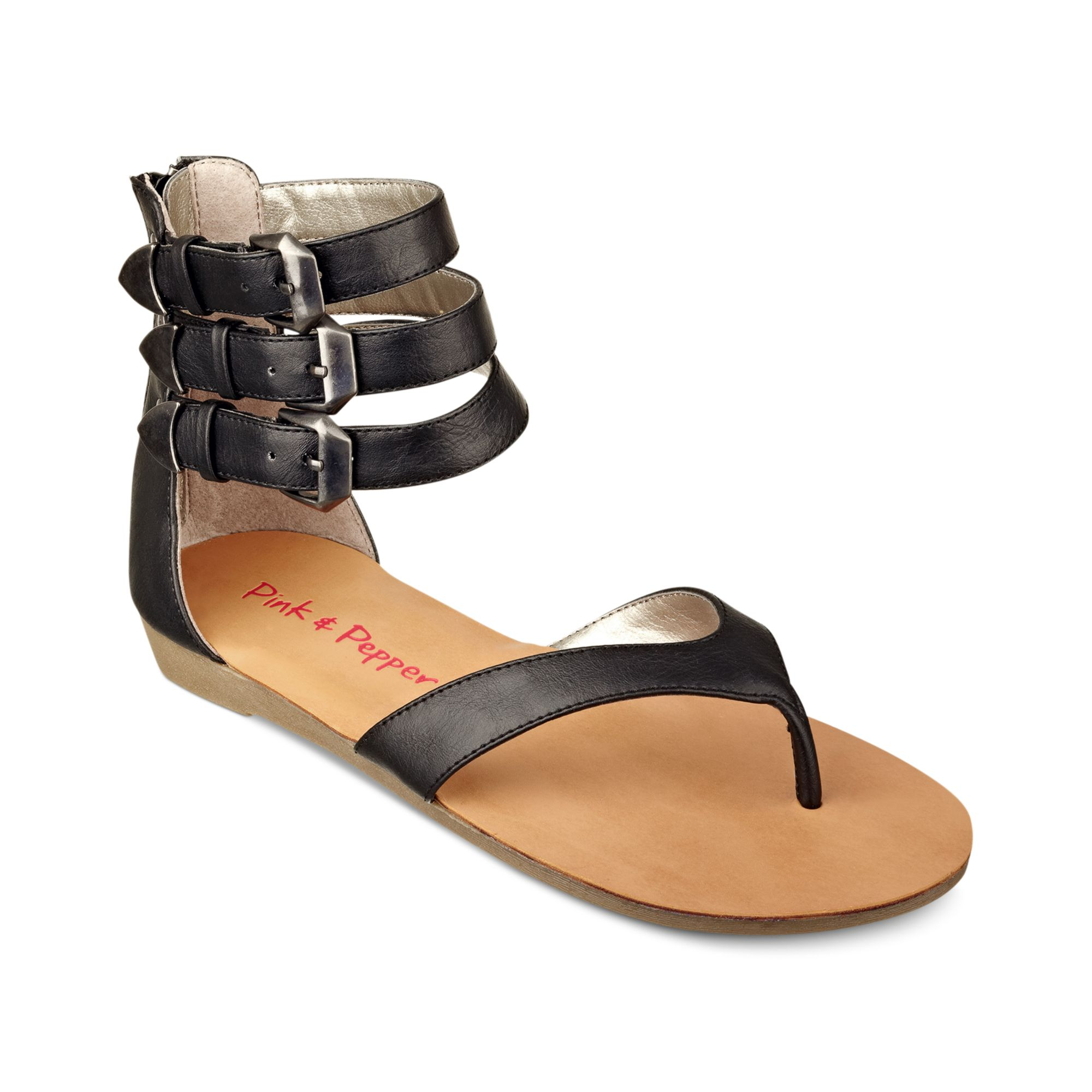 Pink And Pepper Ice Flat Sandals In Black Lyst
