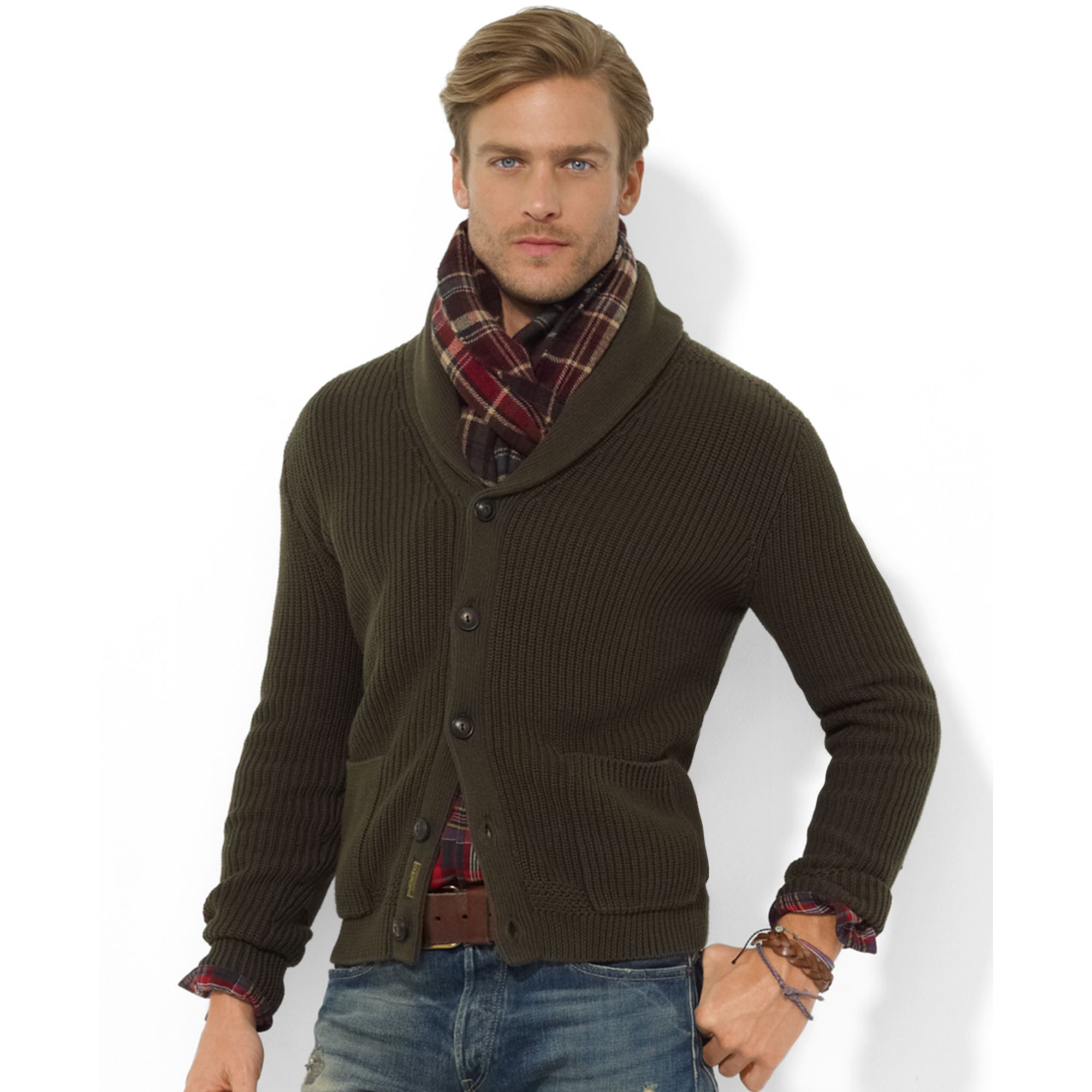 Ralph lauren Shawl Collar Carded Cotton Cardigan in Brown for Men ...