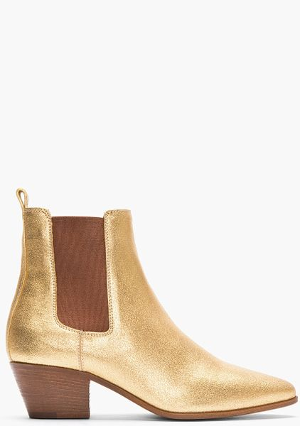 laurent metallic gold leather chelsea ankle boots in