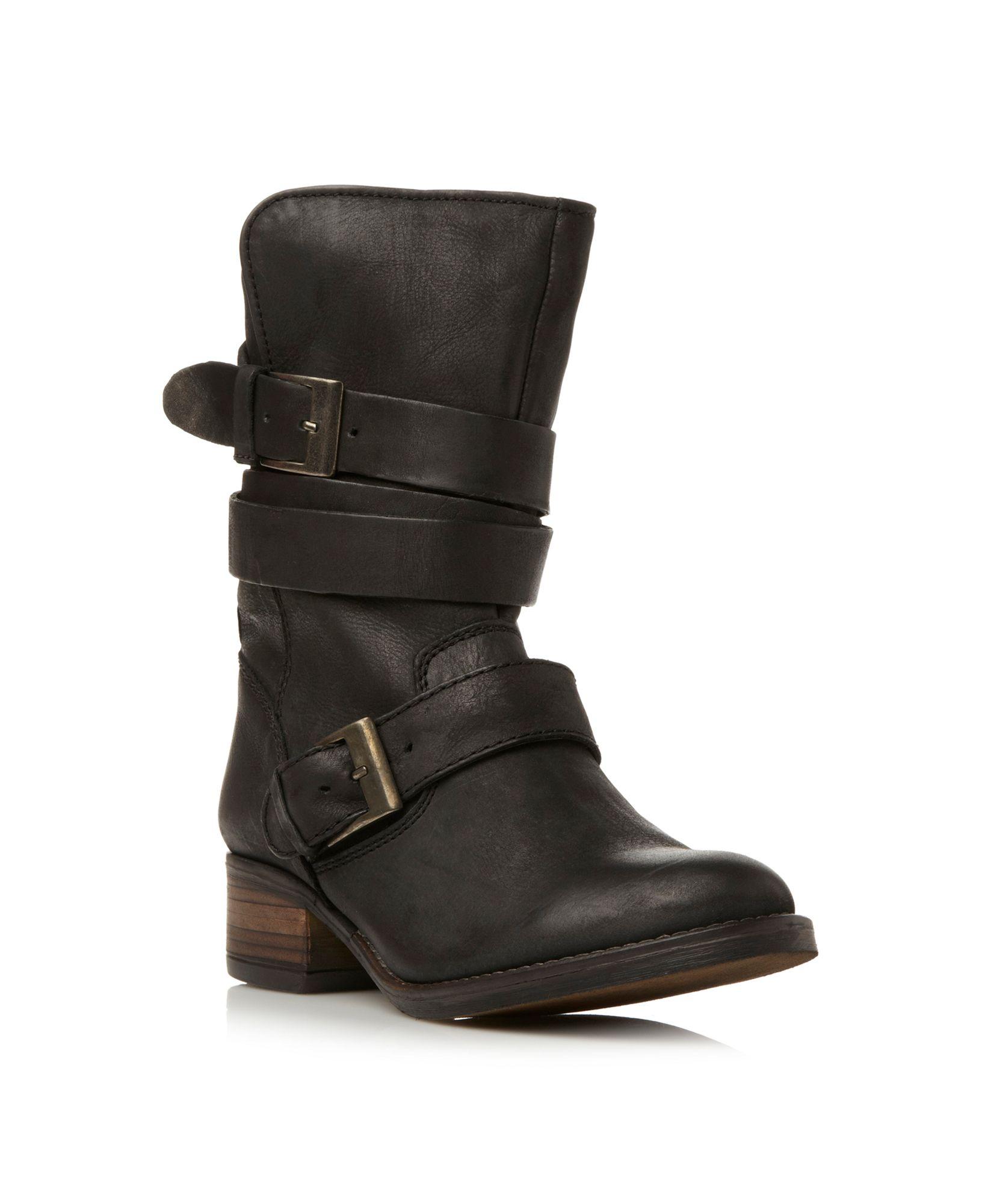 steve madden brewzer detail boots in black black