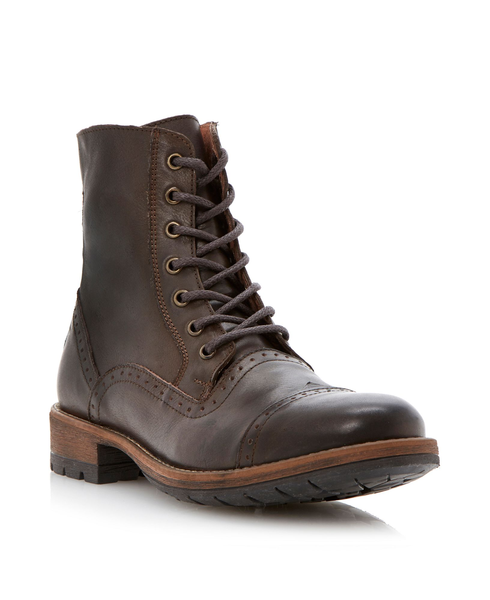 steve madden nathen brogue toecap heavy boots in brown for. Black Bedroom Furniture Sets. Home Design Ideas