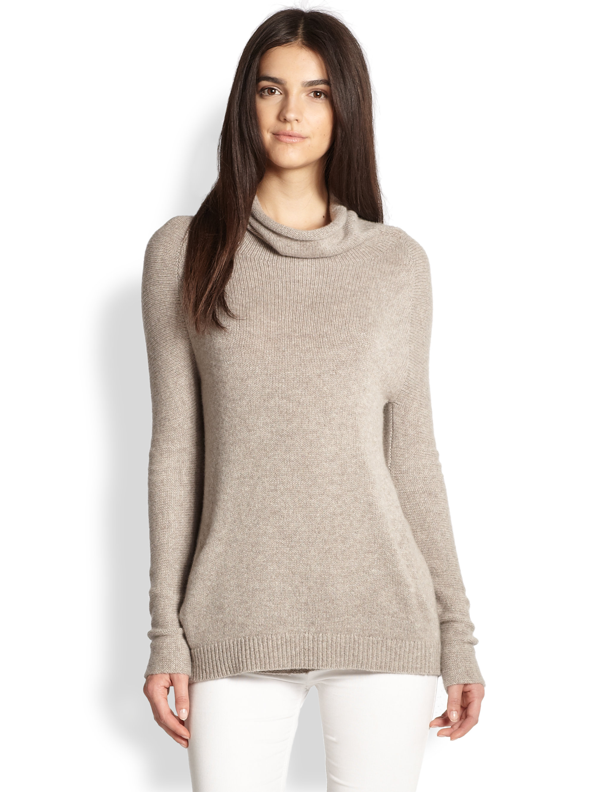 Theory Norman B Cashmere Draped Turtleneck Sweater in Gray | Lyst