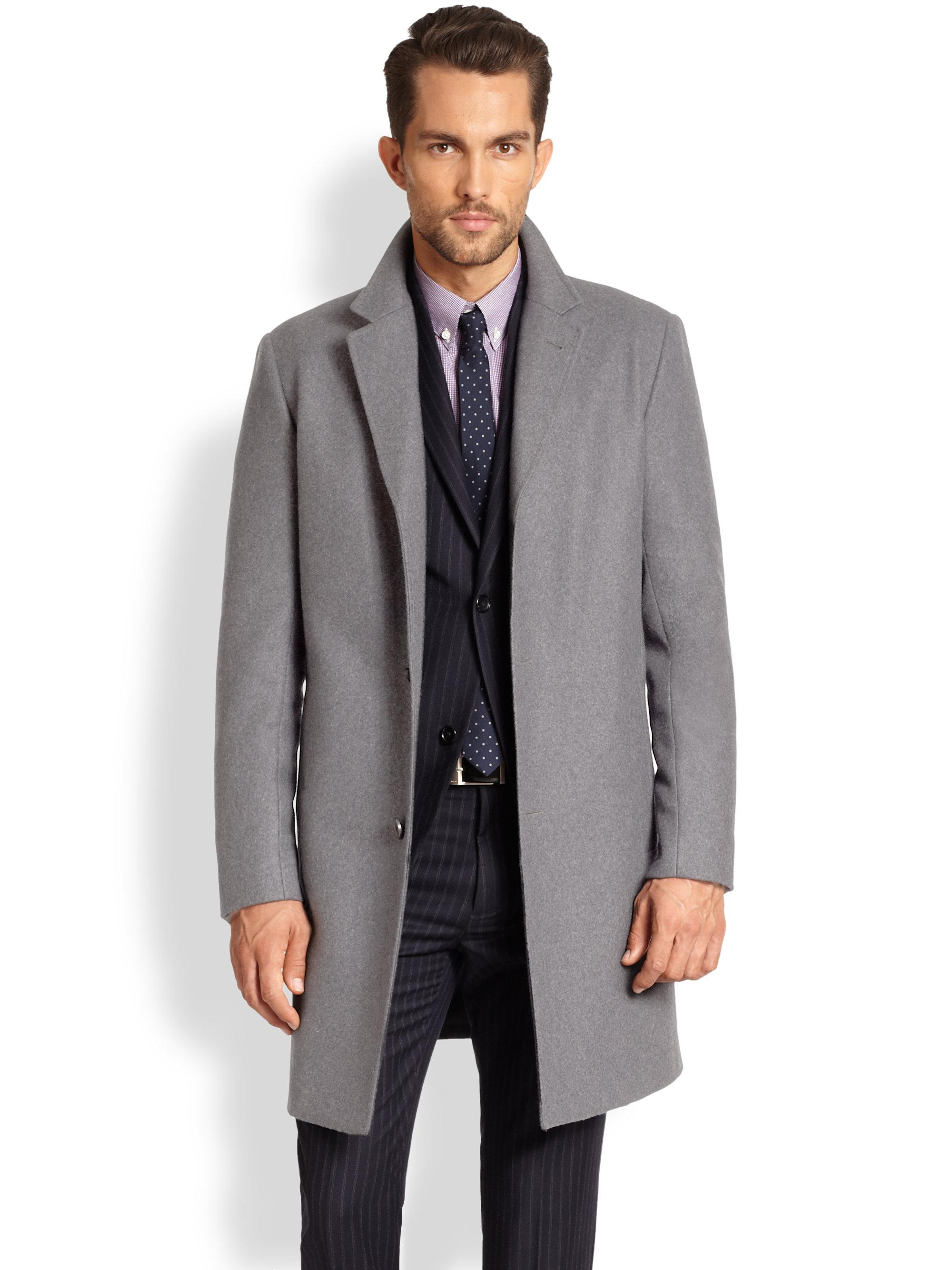 Theory Frej Krimsley Topcoat in Gray for Men | Lyst