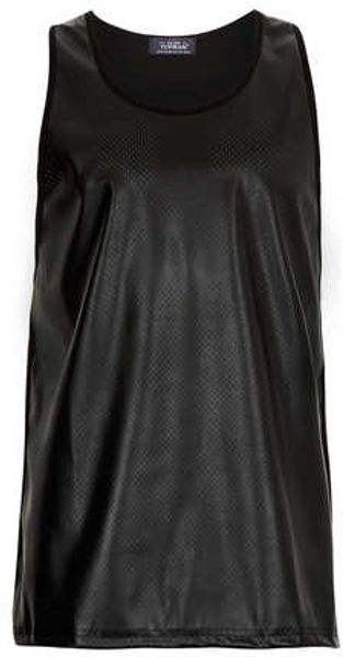Topman Black Oversized Leather Look Tank - Lyst