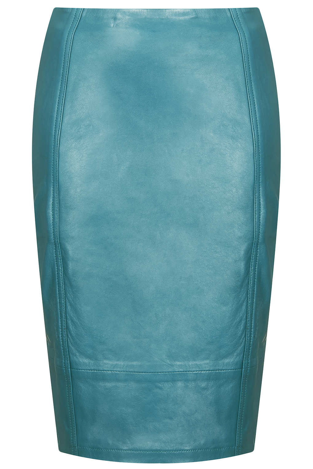Topshop Leather Panel Pencil Skirt in Blue | Lyst