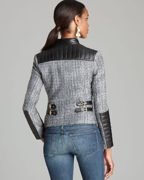 Vince Camuto Zip Tweed Moto Jacket In Gray Rich Black Lyst