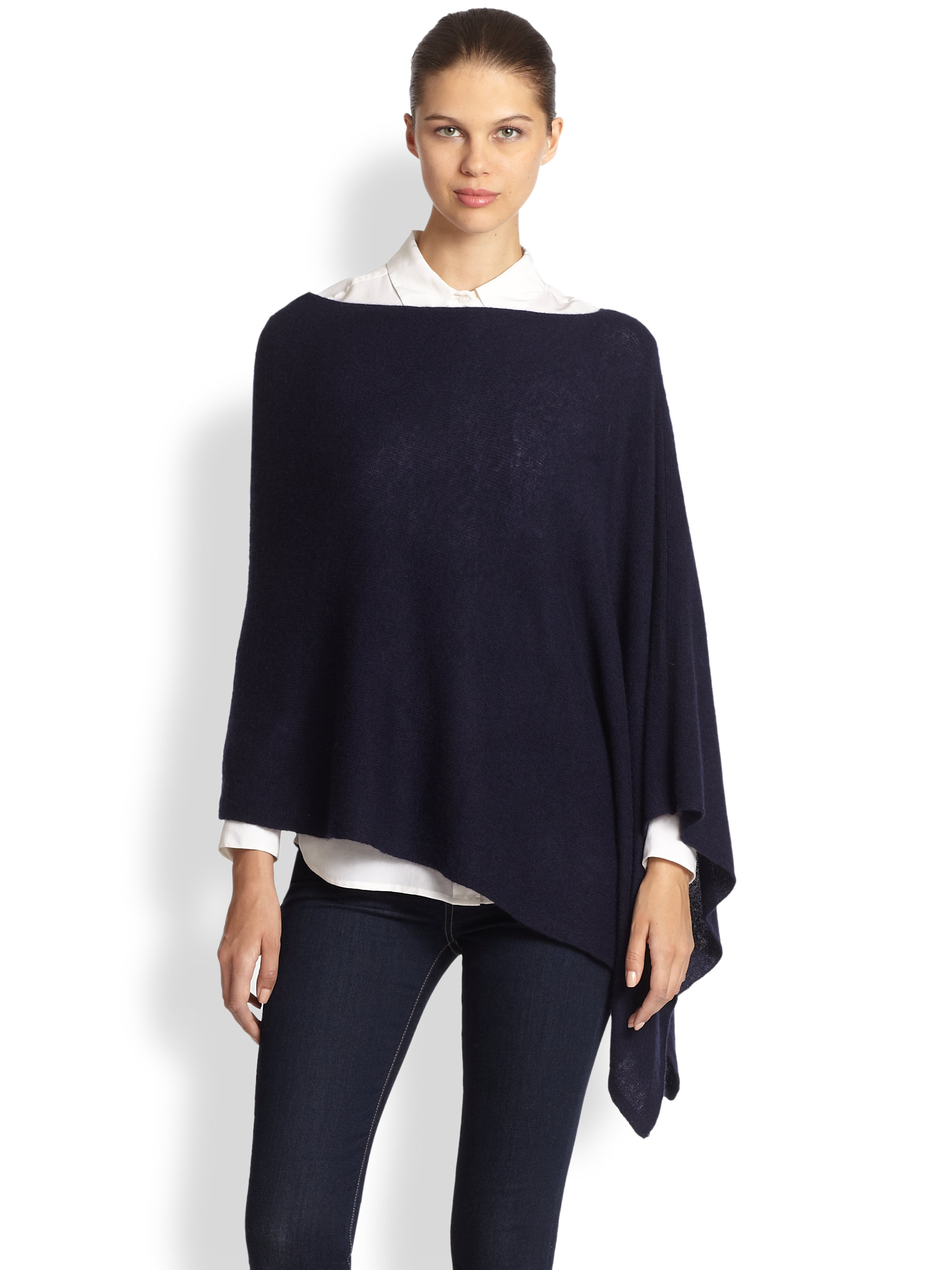 White + warren Cashmere Two Way Diagonal Wrap in Blue | Lyst