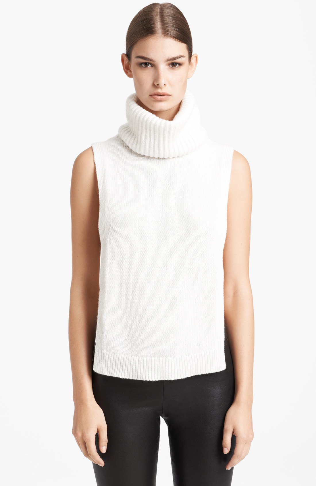 Women Sleeveless Mock-Turtleneck Pleated Top with Waistband. from $ 14 5 out of 5 stars 1. Loving People. Sleeveless Solid Plain Ruched Front Turtle Mock Neck Casual Tank Top. from $ 12 99 Prime. out of 5 stars SPANX. On Top and in Control - Chic Sleeveless Shaping Turtleneck. from $ 13 94 Prime.