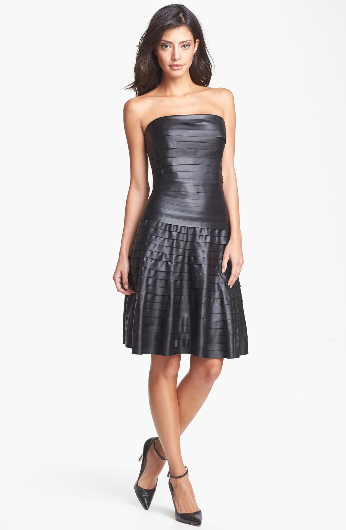 Bcbgmaxazria Faux Leather Tiered Fit Flare Dress In Black