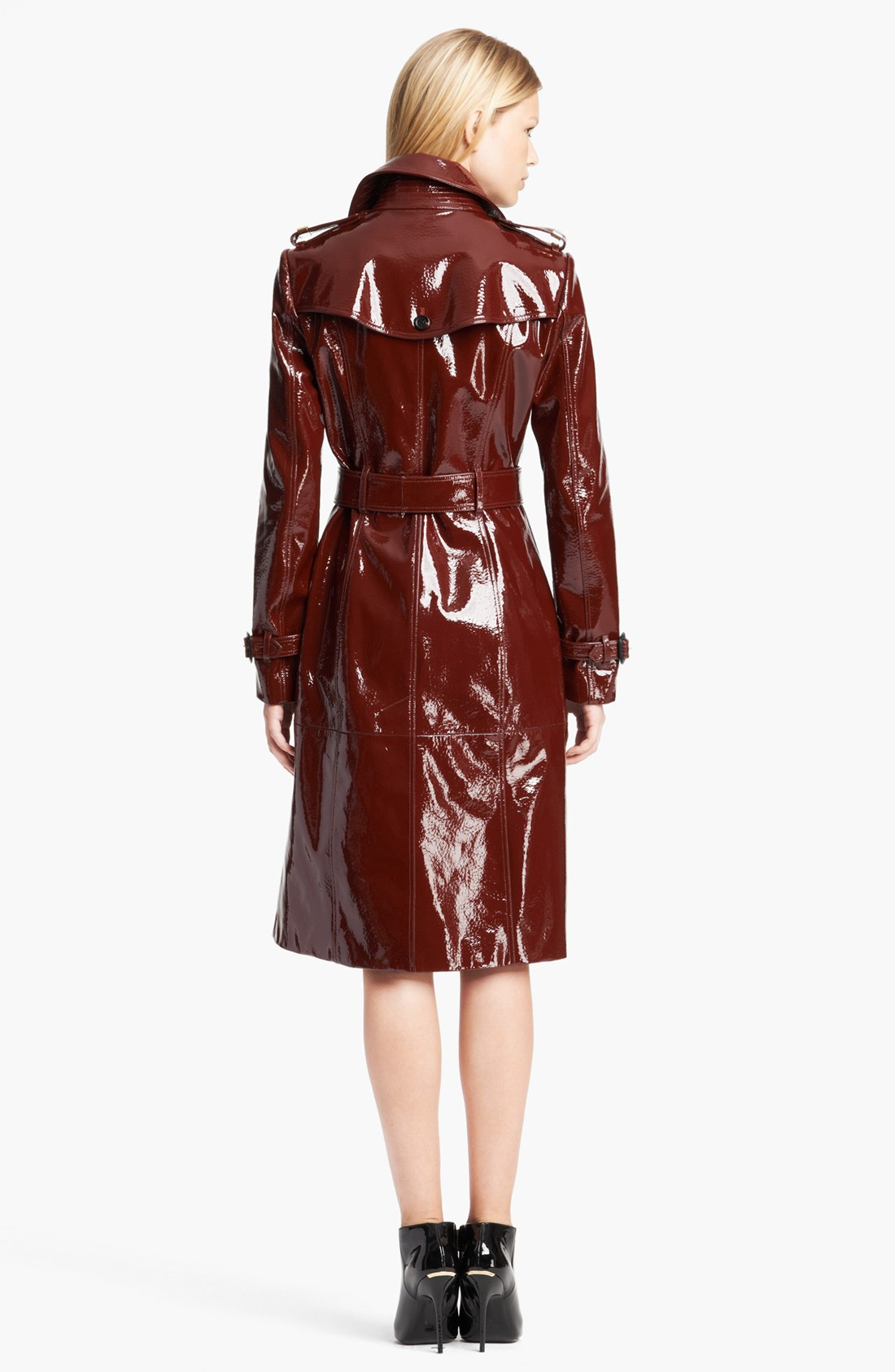 Lyst burberry prorsum double breasted patent leather for Red leather shirt for womens