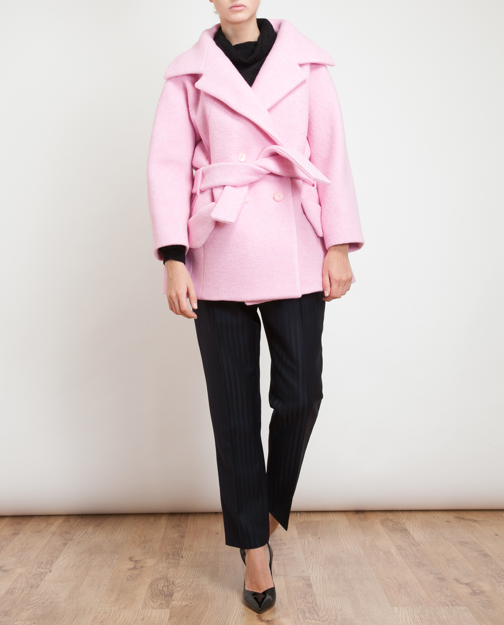 Carven Oversized Boiled Wool Coat in Pink | Lyst