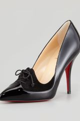 Christian Louboutin Queue De Pie Patentsuede Red Sole Pump Black - Lyst