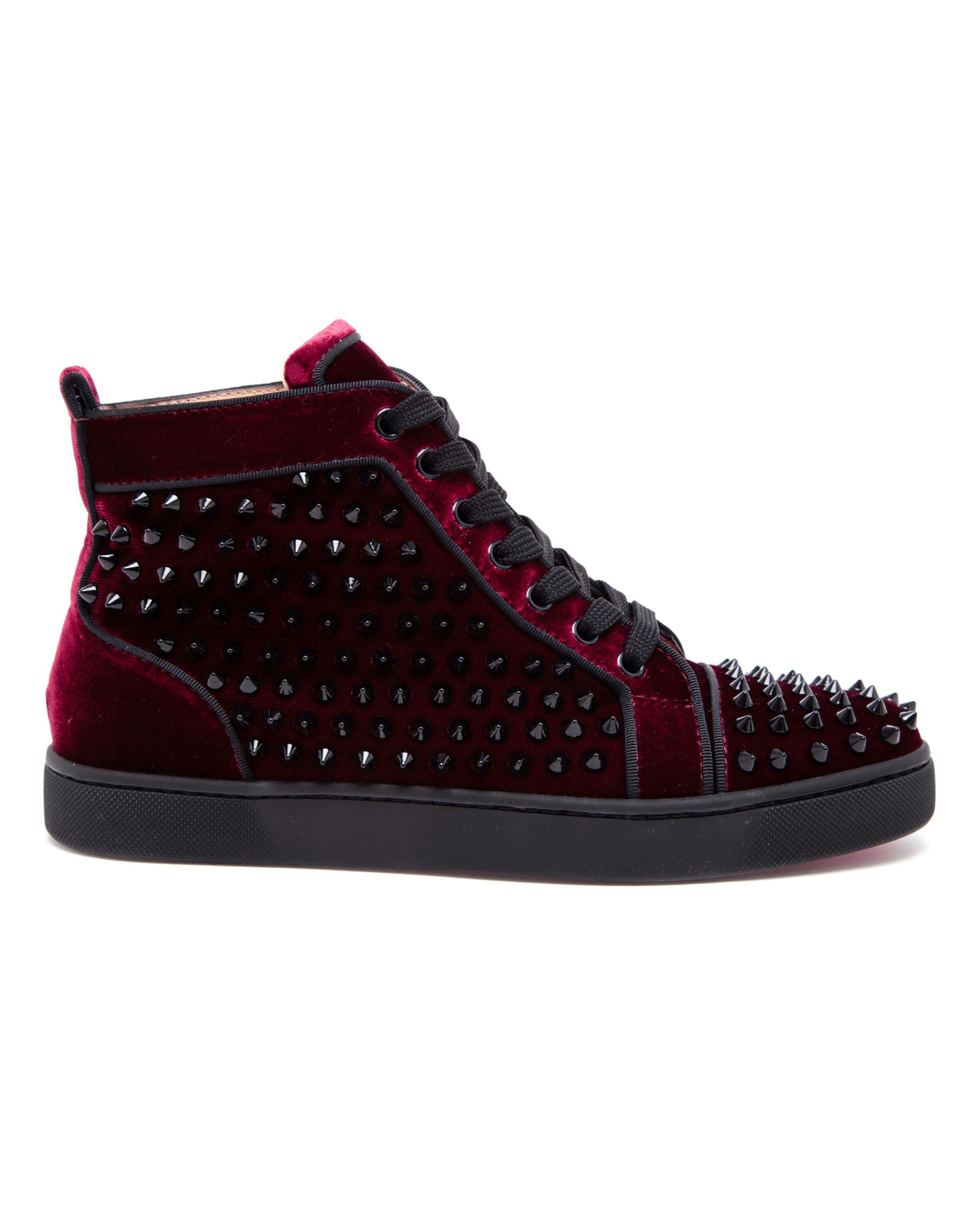 christian louboutin Louis high-top sneakers black leather logo ...