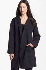 Eileen Fisher Brushed Wool Blend Coat - Lyst