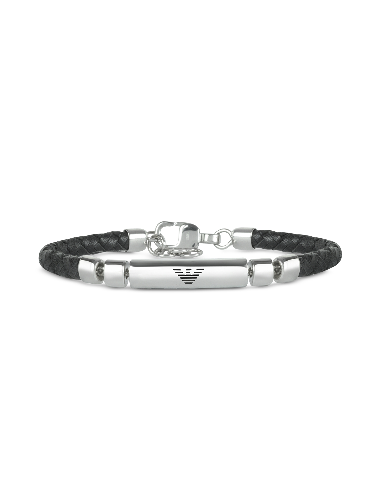 d454cef26 Emporio Armani Stainless Steel and Leather Mens Bracelet in Black ...