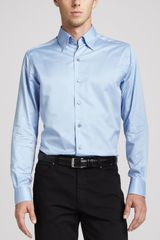 Ermenegildo Zegna 3ply Cotton Dress Shirt Blue - Lyst