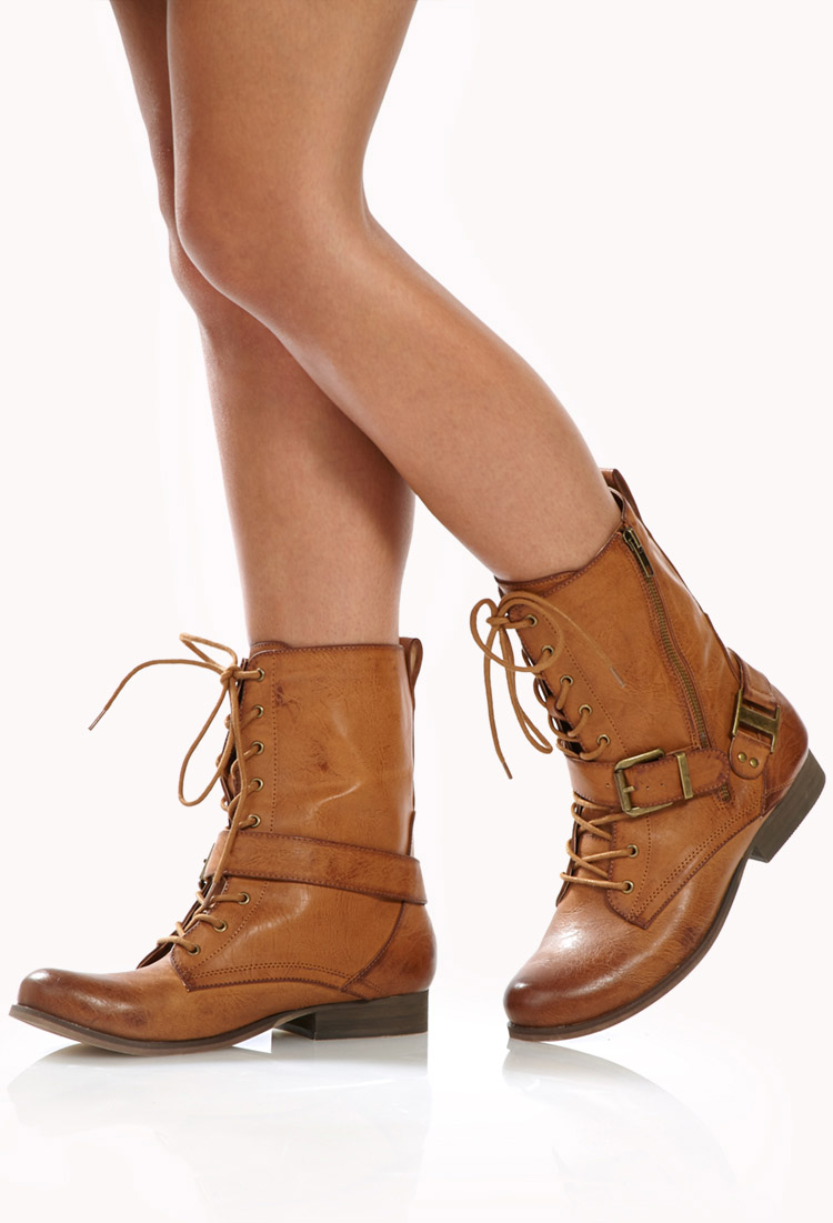 forever 21 runaround combat boots in brown lyst