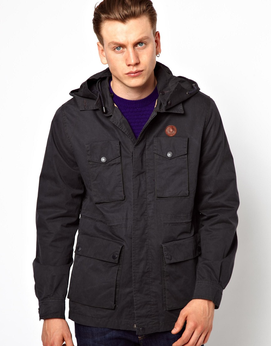 lyst fred perry hooded field jacket in black for men. Black Bedroom Furniture Sets. Home Design Ideas