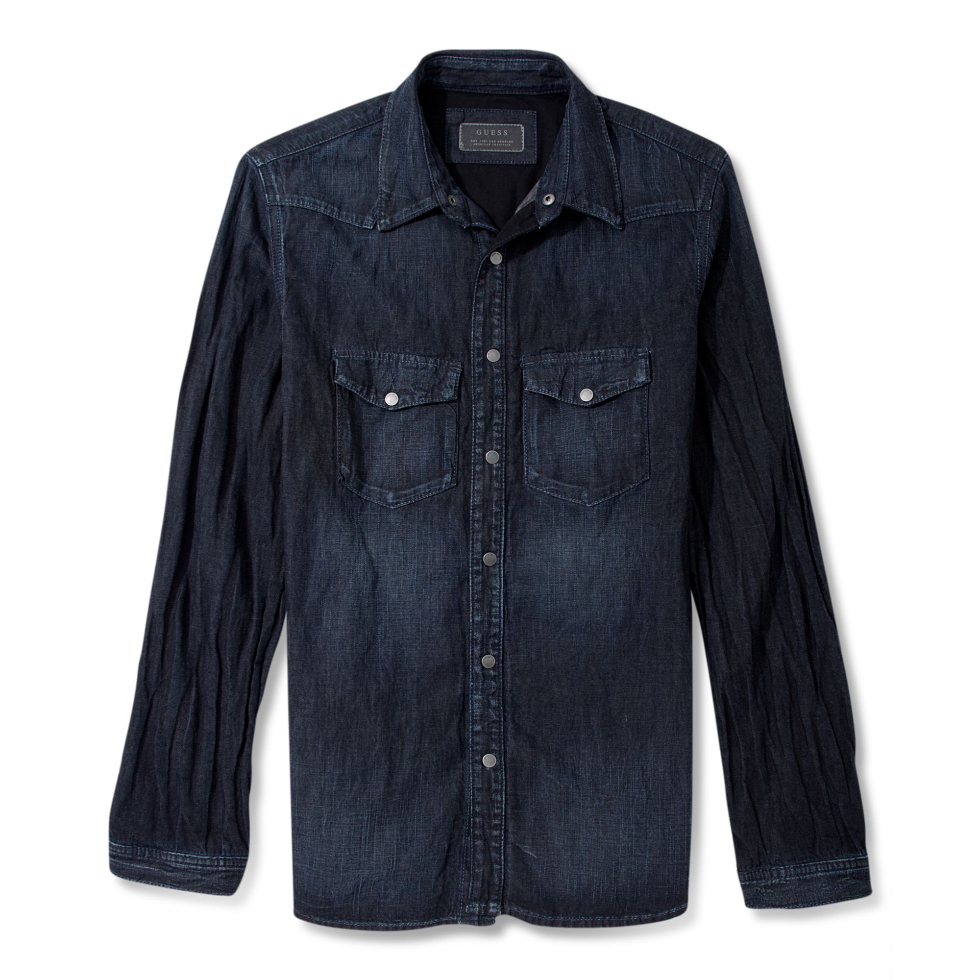 Guess Long Sleeve Shirt Lincoln Denim In Blue For Men Lyst