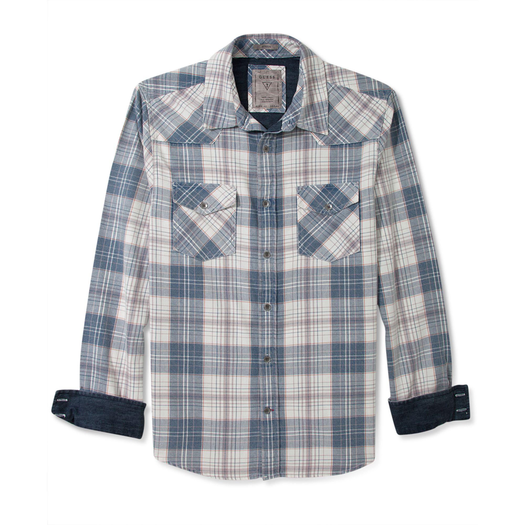 Guess Long Sleeve Shirt Tigerprint Plaid In Blue For Men