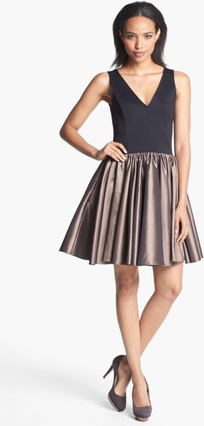 Halston Heritage Mixed Media Fit Flare Dress - Lyst