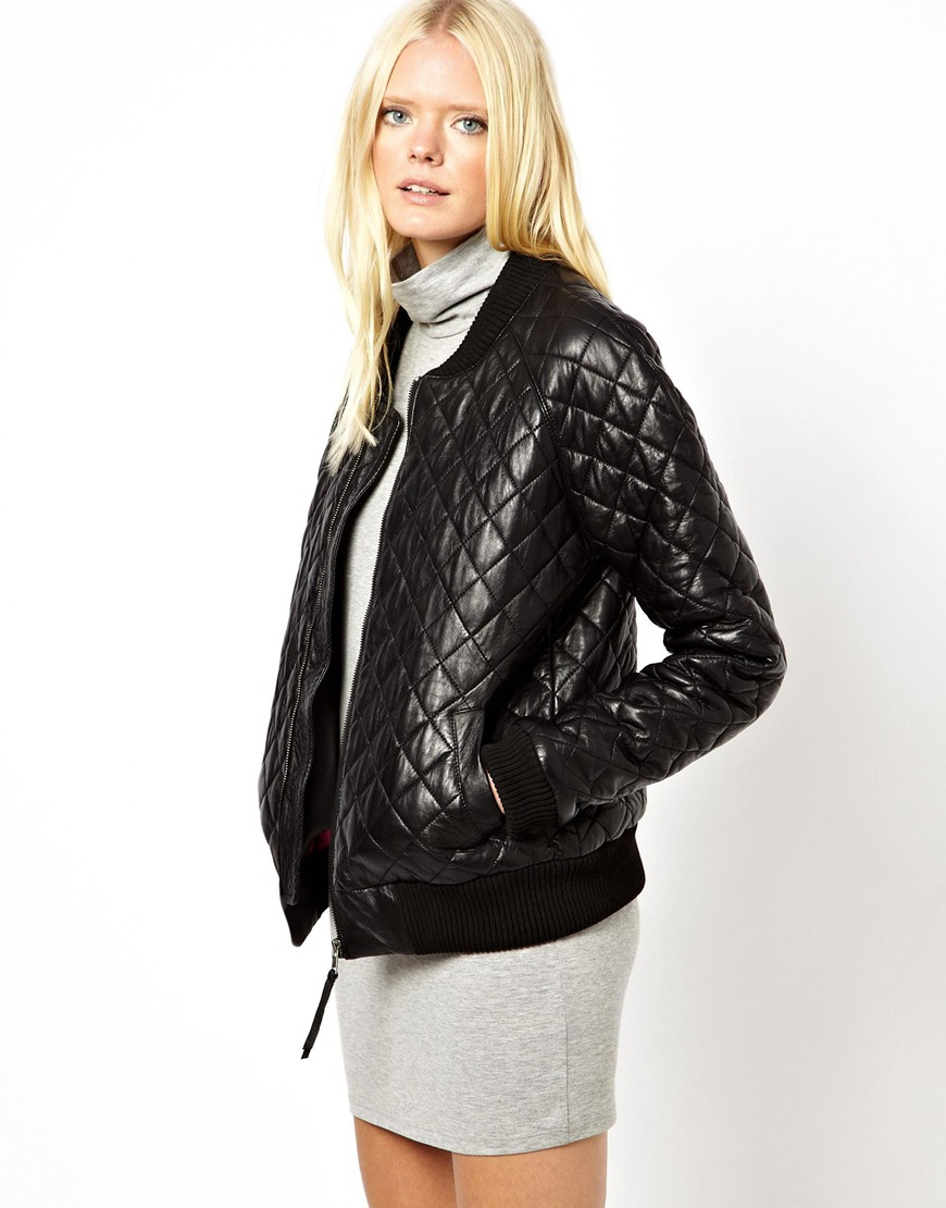 Glamorous Just Female Quilted Leather Bomber Jacket in Black | Lyst