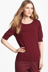 Lafayette 148 New York Scoop Neck Elbow Sleeve Top - Lyst