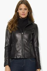 Lauren by Ralph Lauren Zip Front Leather Jacket - Lyst