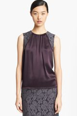 Lida Baday Lace Detail Silk Top - Lyst