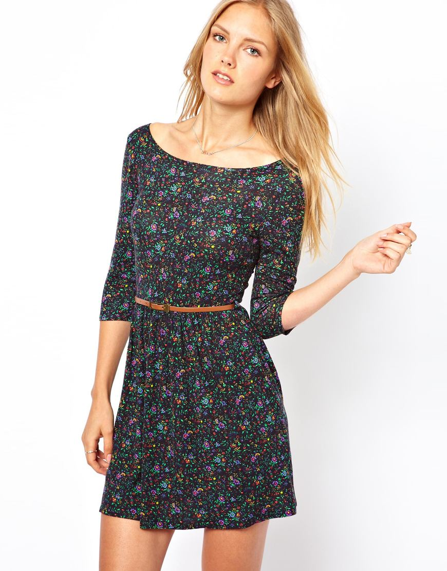 floral skater dress with belt lyst