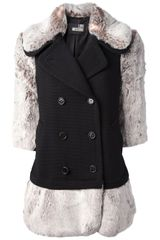 Love Moschino Shearling Detail Peacoat - Lyst