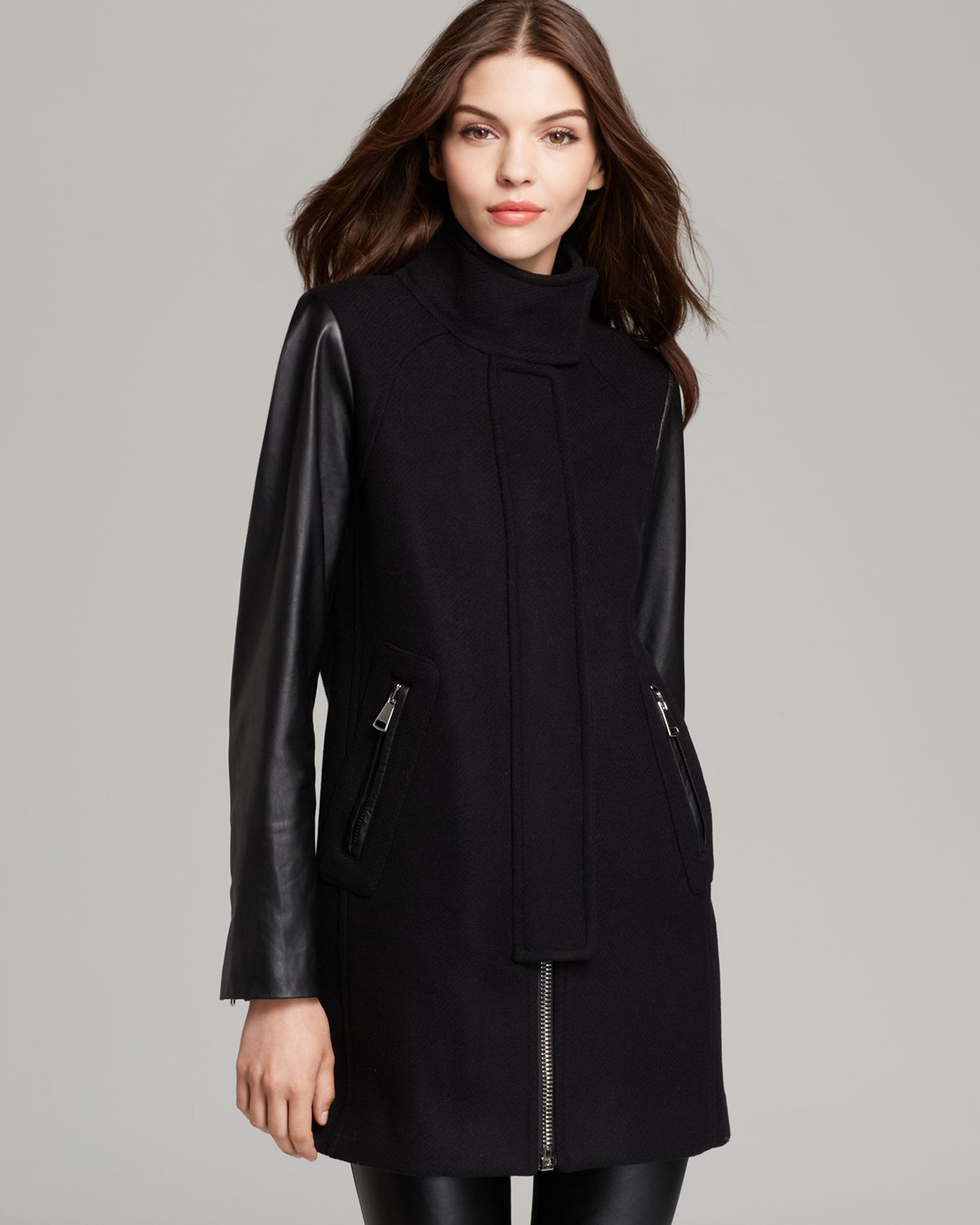 Milly Coat Zip Swing with Leather Sleeves in Black | Lyst