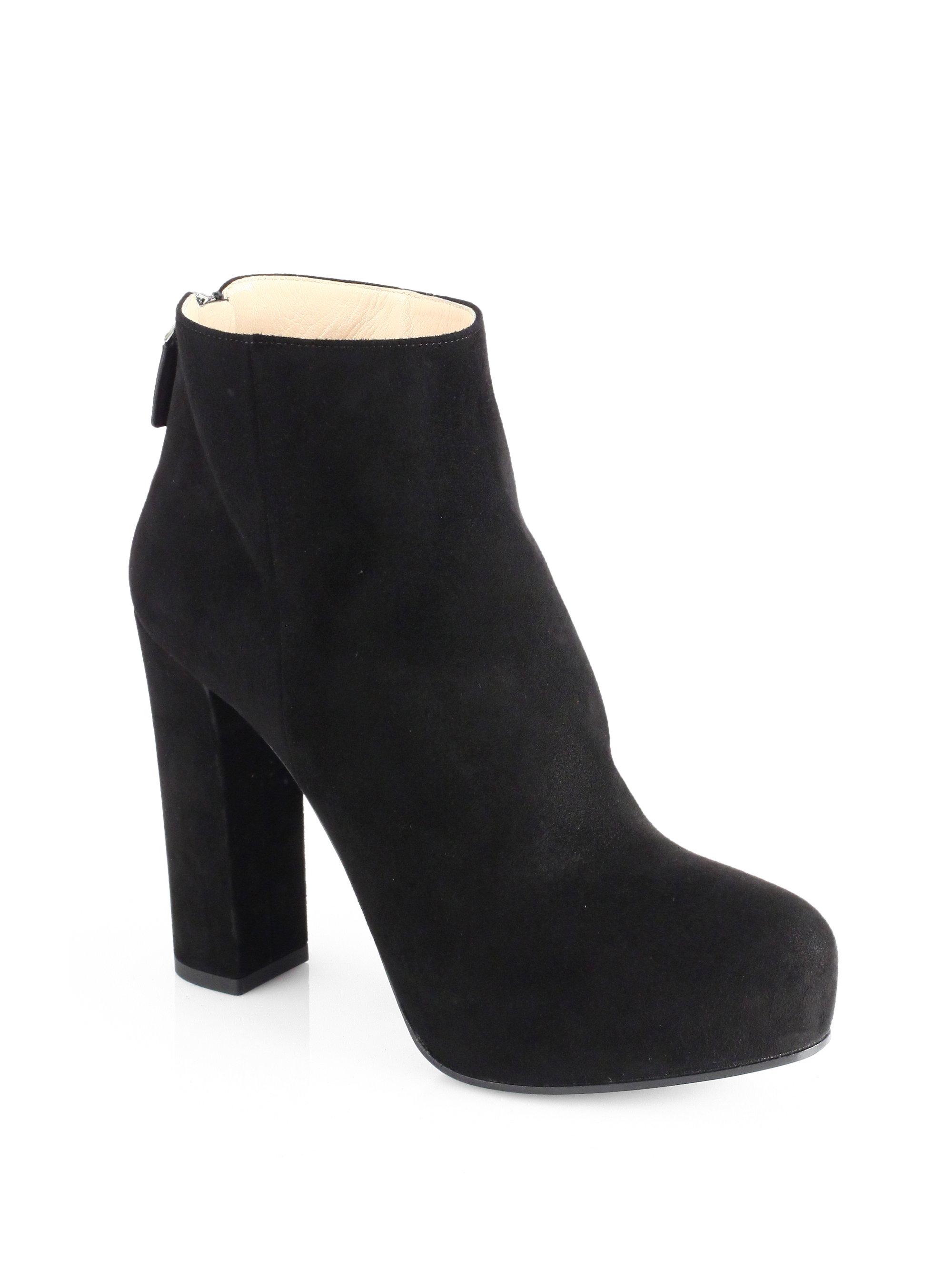 Prada Suede Backzip Platform Ankle Boots In Black Lyst