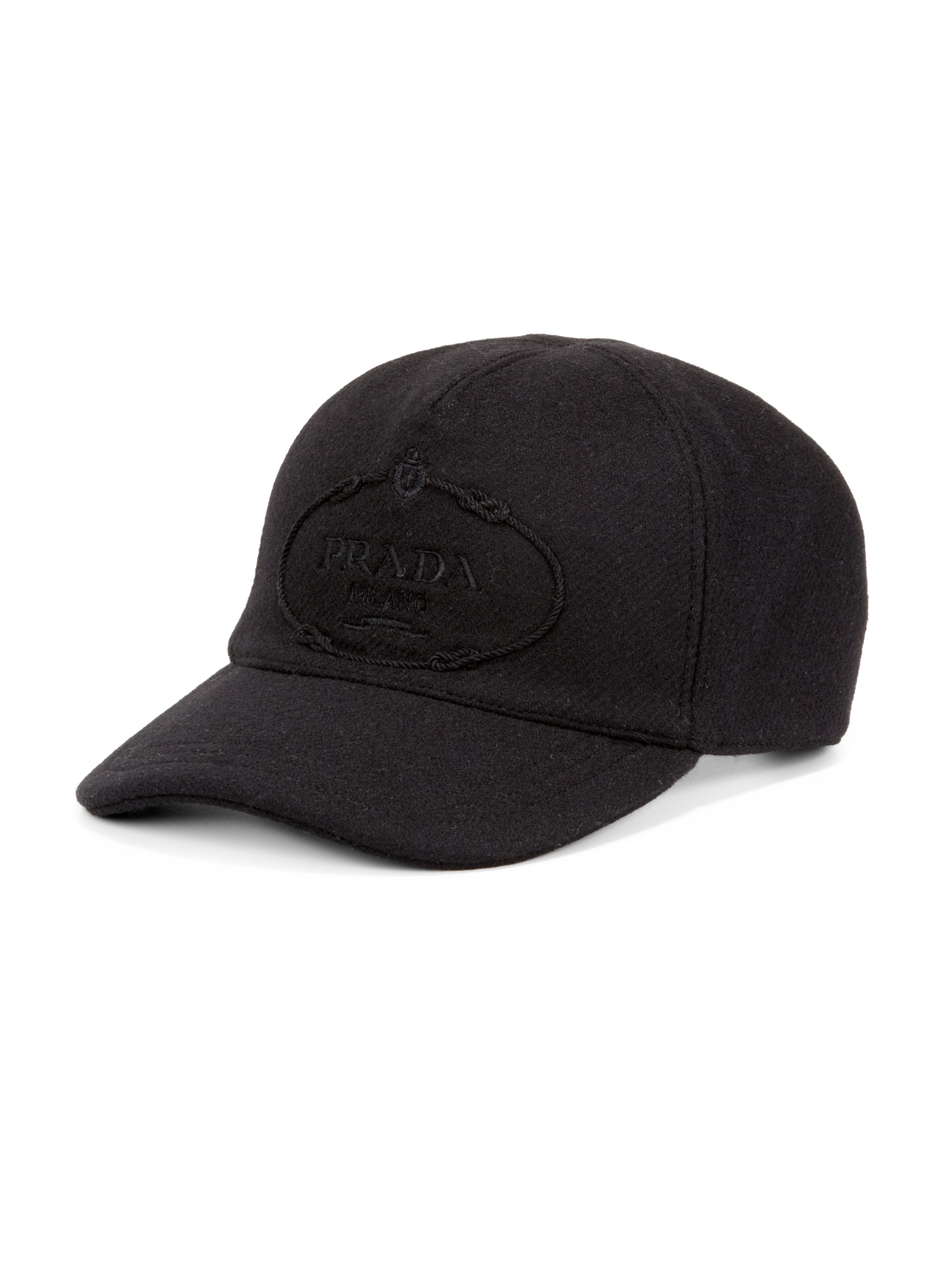 ecdde672bf2 Lyst - Prada Wool Logo Baseball Cap in Black for Men