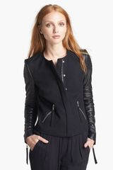 Rebecca Taylor Twill Leather Moto Jacket - Lyst