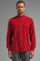 Steven Alan Single Needle Shirt in Red - Lyst
