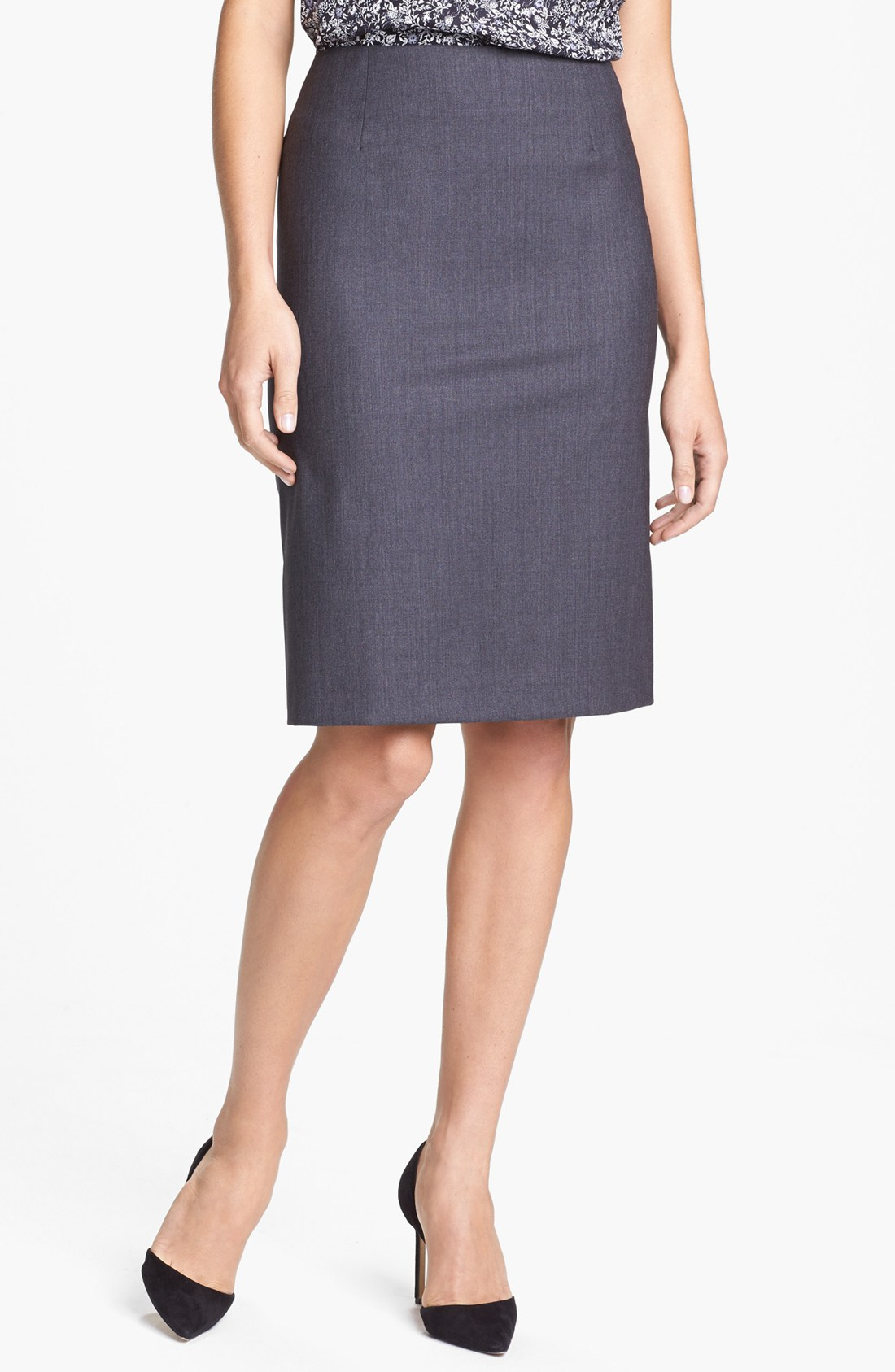 theory golda 2 pencil skirt in gray charcoal lyst