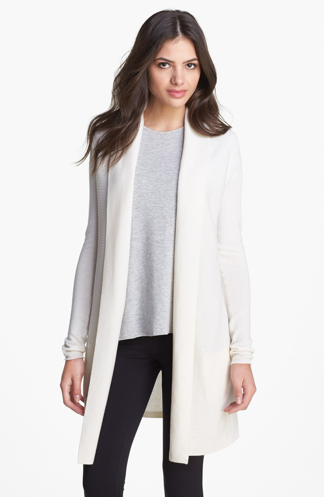 Theory Nobis Open Cashmere Cardigan in White | Lyst
