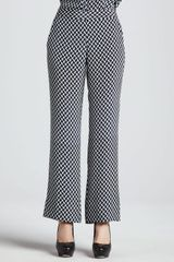 Theory Mitrana Herringboneprint Silk Pants - Lyst
