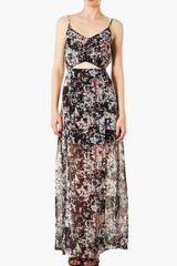 Topshop Cut Out Chiffon Maxi Dress - Lyst