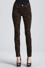 7 For All Mankind Leopardprint Skinny Jeans - Lyst