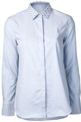 Brunello Cucinelli Oxford Studded Collar Shirt - Lyst