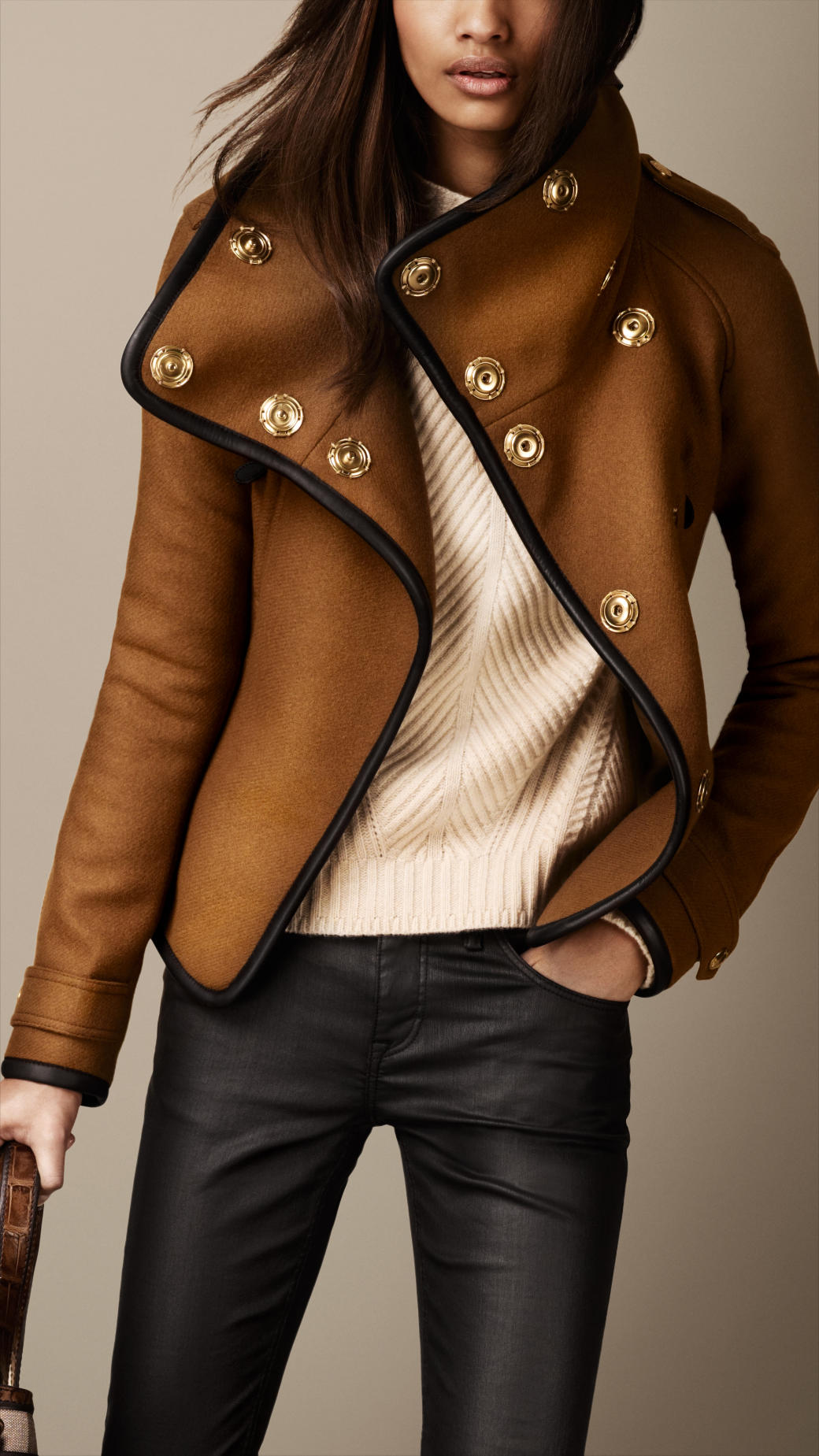 Lyst Burberry Leather Trim Blanket Wrap Jacket In Brown