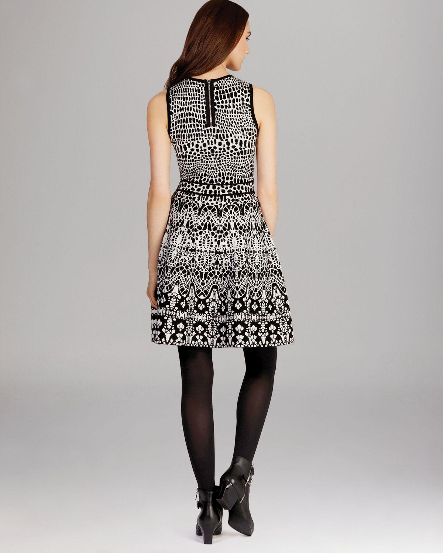 Lyst Karen Millen Jacquard Knit Dress In Black