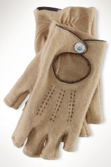 Lauren by Ralph Lauren Wool Fingerless Driving Gloves - Lyst